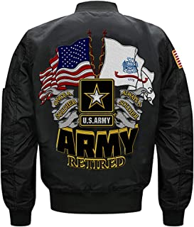 U.S Army Retired Once A Soldier Always a Soldier MA-1 Flight Embroidered Bomber Jacket, U.S Army Jacket