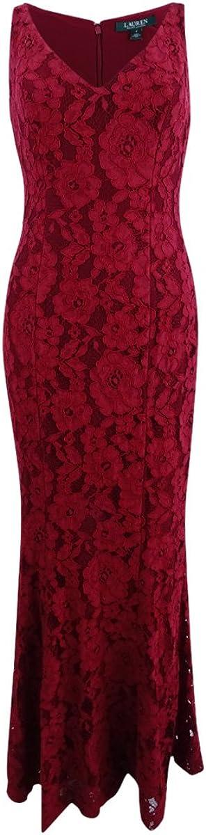 Lauren by Ralph Lauren Women's Lace V-Neck Floor-Length Gown