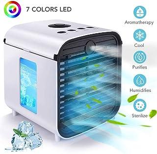 Aire Acondicionado Portátil,5 En 1 USB Air Cooler Purificador Humidificador Aromaterapia Luz Nocturna Ventilador Mini Enfriador 7 Colores Luces 3 Velocidades-para Hogar Y Oficina