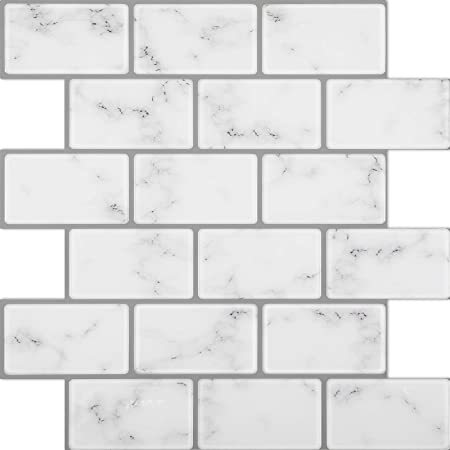Peel and Stick Wall Tiles Marble White Subway Tile with Grey Grout for Kitchen and Bathroom Lagute 5-Sheet 12 x 12 Thicker Design Stick on Backsplash Tiles