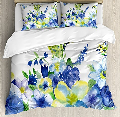 Ambesonne Yellow and Blue Duvet Cover Set, Spring Flower Watercolor Flourishing Vibrant Blooms Design, Decorative 3 Piece Bedding Set with 2 Pillow Shams, King Size, Royal Blue