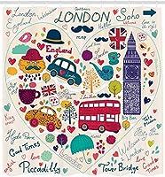 ロンドンのシャワーカーテンカラフルな赤いバスビッグベンティー傘帽子レトロな黒いキャビンハートプリントバスルームの装飾セットフック付き