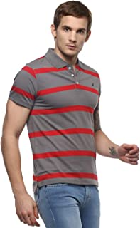AMERICAN CREW Men's Polo Collar Half Sleeve Striped T Shirts for Men