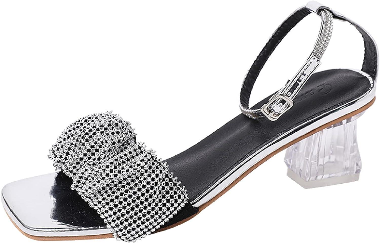 Women's Comfy Transparent Heel Memphis Mall Virginia Beach Mall Sandal Straps Tr Ankle Rhinestone