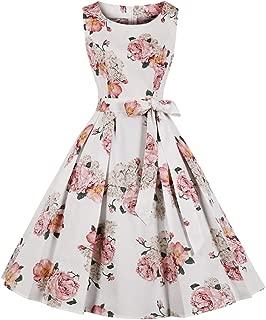 Women's 1950s A Line Vintage Dresses Audrey Hepburn Style Floral Party Dress