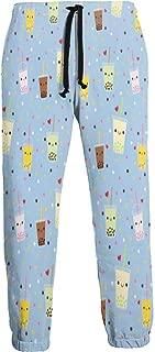 Cyloten Sweatpants Happy Boba Bubble Tea Men's Trousers Cotton Baggy Sweatpants Novelty Pants for Daily
