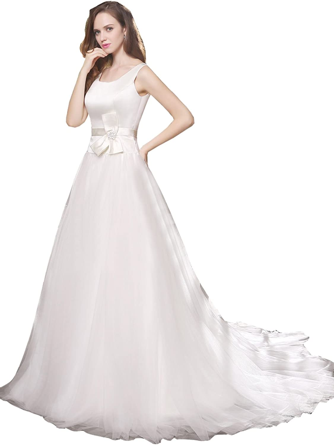 Datangep Women's Boat Neck Empire ALine Satin Tulle Wedding Dress with Train