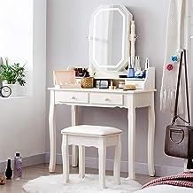 Vanity Set with Lighted Mirror, Vanity Desk with Drawers Set,Makeup Vanity Dressing Table, 4 Drawers Dresser Desk and Cush...