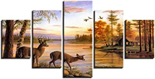 Wangjru Canvas Poster Living Room Wall Art 5 Pieces Forest Deers Paintings Hd Prints Lake Landscape Sunset Pictures Home D...
