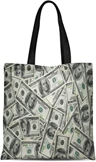 Semtomn Cotton Canvas Tote Bag Green Bill One Hundred Dollars 100 Cash Money Account Reusable Shoulder Grocery Shopping Bags Handbag Printed