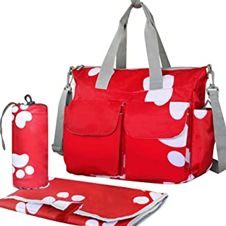 Rojo, impermeable Bolsa de la botella de bebé de la alta capacidad / bolso del Solo-hombro (huella)