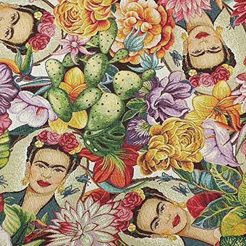 Kt KILOtela Tela de tapicería - Jacquard Gobelino - Retal de 100 cm Largo x 280 cm Ancho | Frida Kahlo Tropical - Multicolor ─ 1 Metro