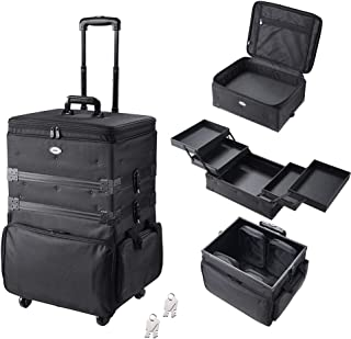 AW 3-in-1 Soft Sided Rolling Makeup Train Case with 4 Wheels 1680D Oxford Cosmetic Travel Case Trolley Lockable