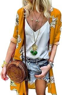 Womens Chiffon Kimono Long Sleeves Loose Fit Floral Cardigan