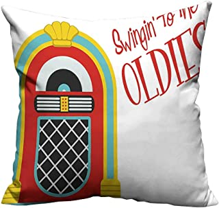 YouXianHome Pillowcase with Zipper Vintage P y Theme Music Box Quote Print Red Sky Blue and Ultra Soft & Hypoallergenic (Double-Sided Printing) 17.5x17.5 inch