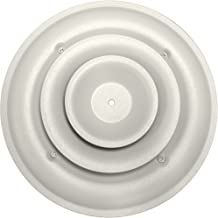 Speedi-Grille SG-RCR 06 6-Inch Round White Ceiling Air Vent Register with Fixed Cone Diffuser and Bowtie Damper