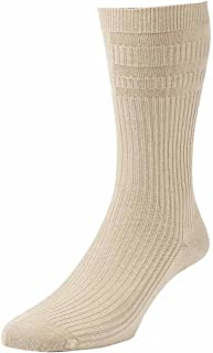 HJ91 Hall MENS SOFTOP Non Elastic Cotton Rich Socks 6-11 Oatmeal