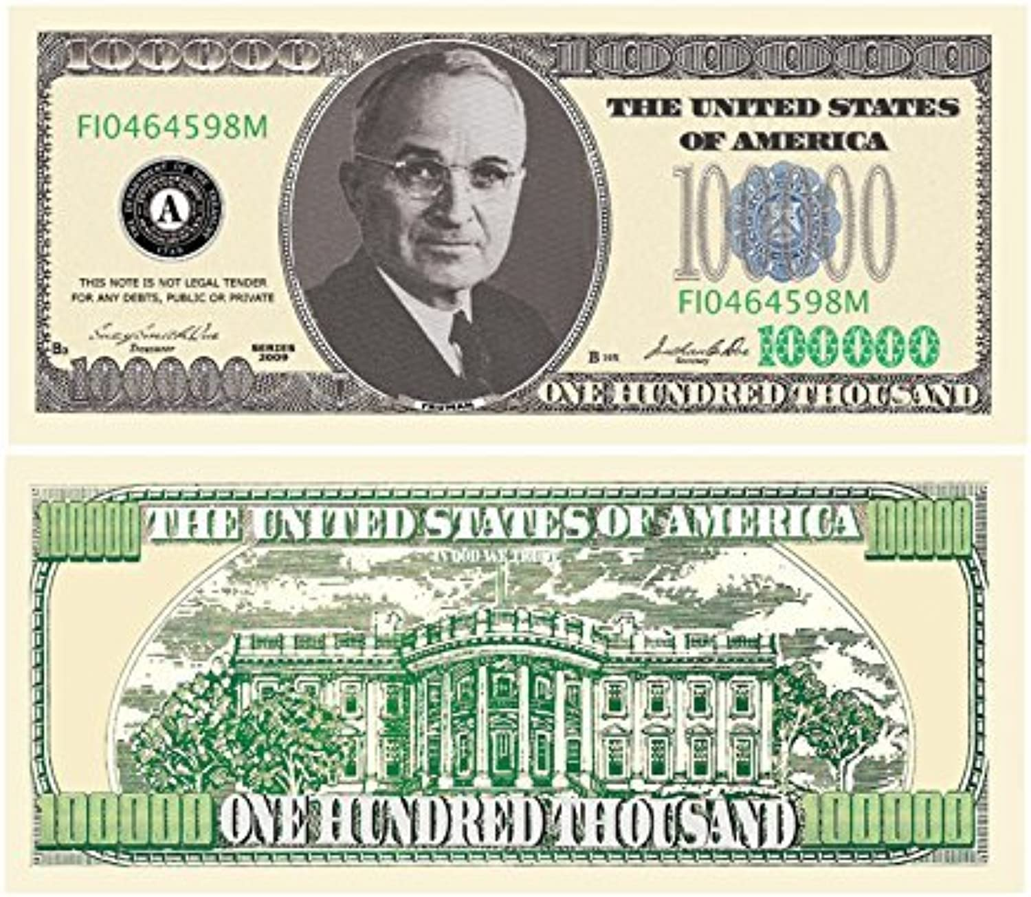 Set of 100 Bills -  100,000.00 Casino Party Money by American Art Classics