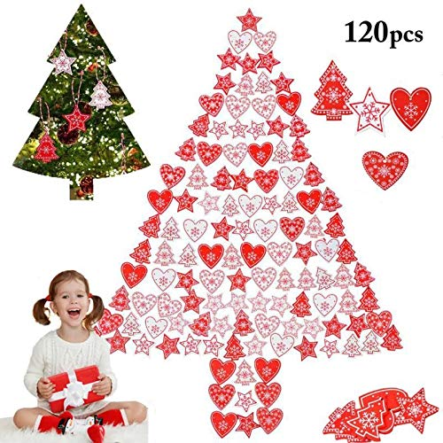 ZOYLINK 120-PCS decorazioni in legno per albero di Natale a forma di cuore/stella/Albero di natale ciondolo Ornamento Di Albero Di Natale