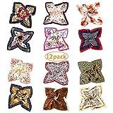 Bufanda Cuadrada de Seda - 12 Bufandas de Cuello Mixto Para Mujer, Bufandas Para Pañuelo/Bufanda Para el Cabello/Conjunto en la Cabeza, Pañuelos Para la Cabeza de Satén de Seda Para Mujer (50x50cm)