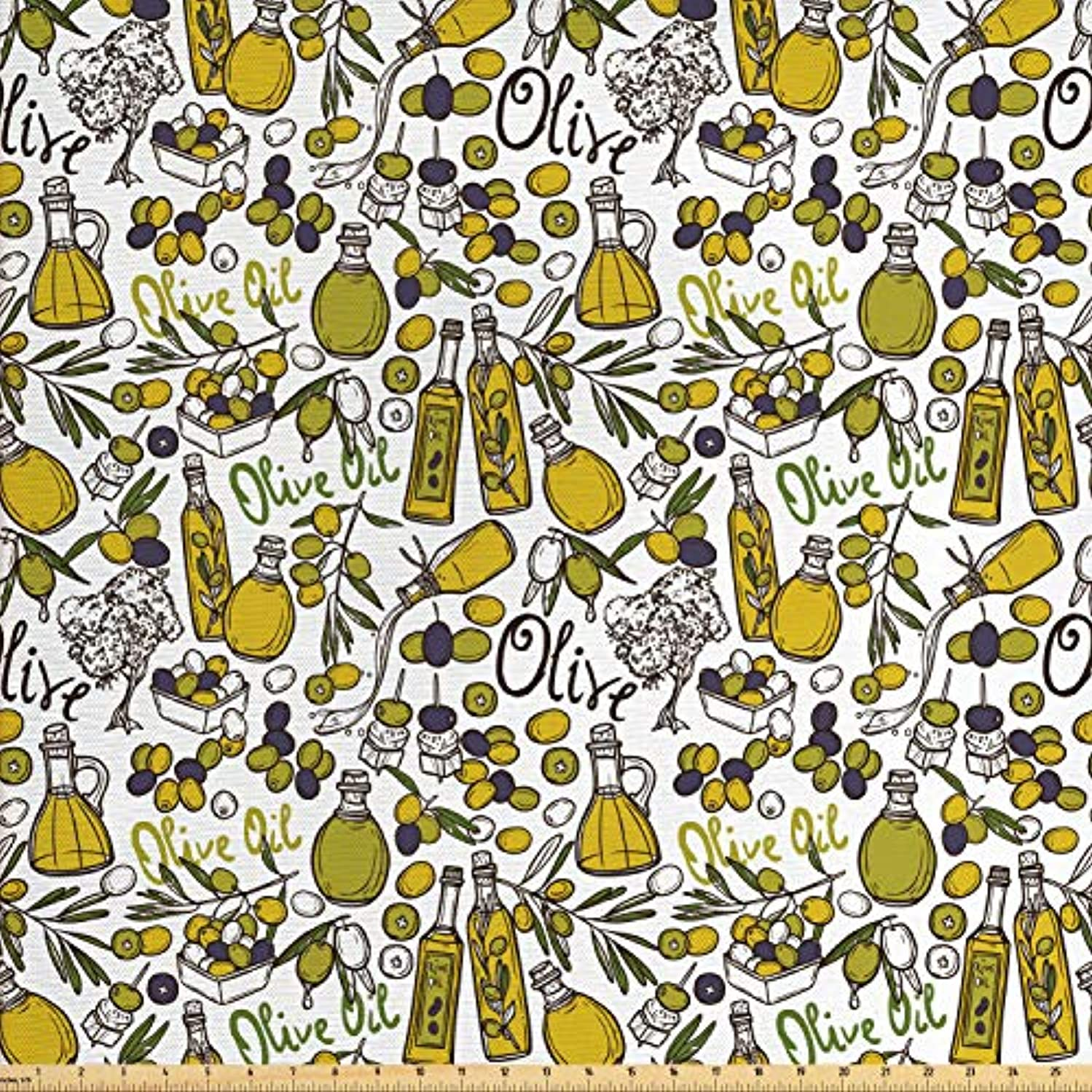 Lunarable Vintage Fabric by The Yard, Olives Oil Bottles Organic Food and Plant Branches Hand Drawn Doodle, Decorative Fabric for Upholstery and Home Accents, 3 Yards, Yellow Navy Blue Green