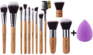 EmaxDesign 12+1 Pieces Makeup Brush Set, 12 Pieces Professional Bamboo Handle Foundation Blending Blush Eye Face Liquid Powder Cream Cosmetics Brushes & 1 Piece purple Beauty Sponge Blender