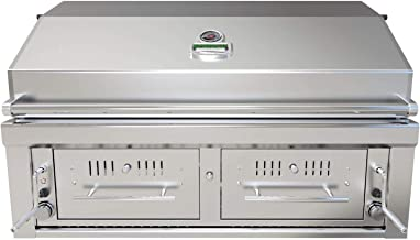 Sunstone Emerald 42-Inch Built-in Stainless Steel Dual Zone Charcoal Grill - EMCHDZ42-LP