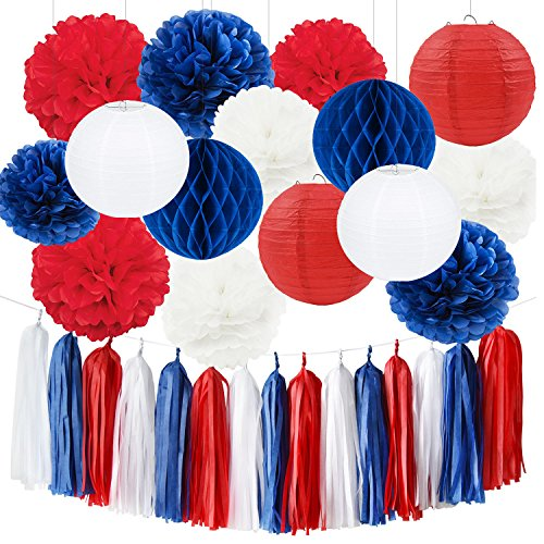 Nautical Party Decor Base Ball Party Decorations Navy Blue Red White 4th of July Decorations Patriotic Party Decorations Fourth of July Party Favors Baby Shower Birthday Sail Boats Party Decorations