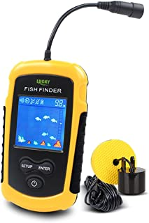 LUCKYLAKER Portable Fishing Sonar, Handheld Wired Fish Finder Fishfinder Alarm Sensor Transducer with LCD Dispaly