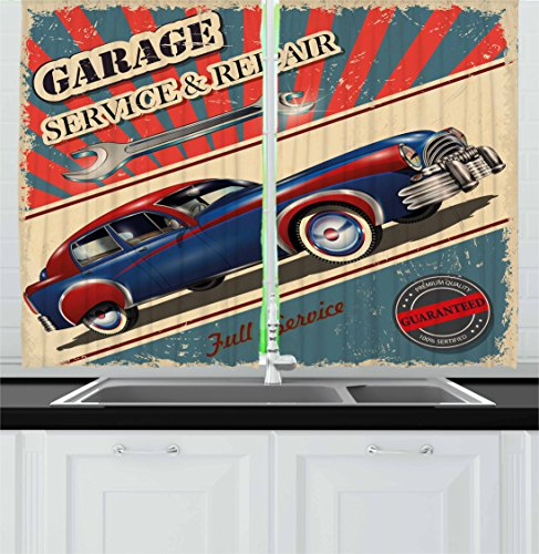 """Ambesonne Man Cave Kitchen Curtains, Vintage Garage Service and Repair Mechanic Fifties Aged Poster Design Retro Design, Window Drapes 2 Panel Set for Kitchen Cafe Decor, 55"""" X 39"""", Slate Blue"""