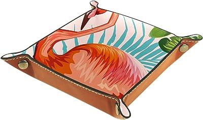 レザーバレットトレイ多目的 収納ボックストレイオーガナイザー小さなアクセサリーの収納に使用,フラミンゴ