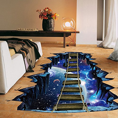 Large 3d Cosmic Wall Sticker Galaxy Star Bridge Home Decoration for Kids Room Floor Living Room Wall Decals Home Decor