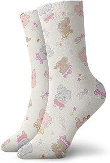 tyui7, Imagen de dibujos animados de un patrón de elefante Calcetines de compresión antideslizantes Calcetines deportivos acogedores de 30 cm para hombres, mujeres y niños