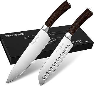 homgeek Couteau Cuisine 2 Pièces Couteau de Chef & Couteaux de Santoku Set de Couteaux Professionnels Ensembles de Couteau...