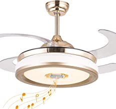 Bluetooth Ceiling Fan with Light and Remote, Invisible Retractable Ceiling Fan with Bluetooth Speaker 7 Color Change LED Fan Chandelier 36W 42 Inch