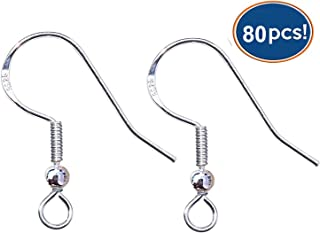 LANBEIDE 80 PCS Earrings Wire Hooks 925 Sterling Silver 40 Pair Ornament Wire Ball Dot French Earring Dangle Hooks Connector for DIY Jewelry Making