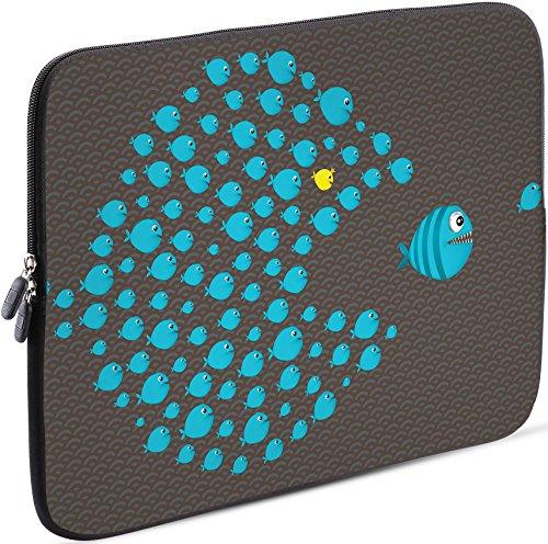 Sidorenko Laptop Tasche für 15-15,6 Zoll | Universal Notebooktasche Schutzhülle | Laptoptasche aus Neopren, PC Computer Hülle Sleeve Case Etui, Grau/Blau