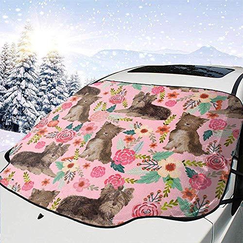 Night-Shop Tessuto Yorkie Cioccolato Tessuto Floreale Vintage Tessuto Yorkshire Terrier Tessuto Floreale carino Copertura parabrezza Auto anteriore