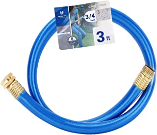 Homes Garden 3/4 in. x 3 ft. Short Garden Hose Blue High Water Pressure with Solid Brass Fittings for Household and Professional Use 8 Years Warranty #G-H164A07-USA