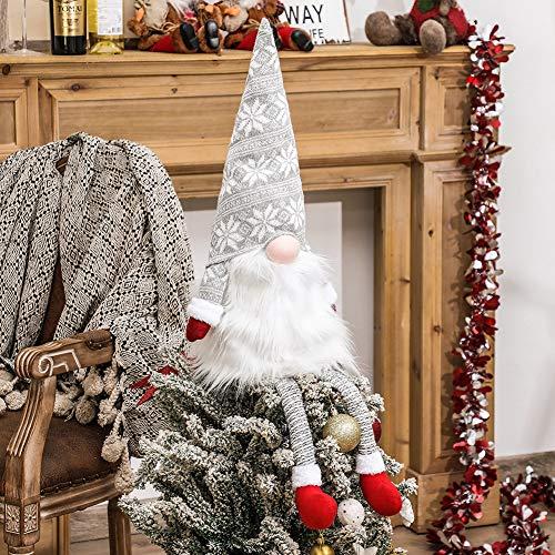 EUNEWR GNOME Weihnachtsbaum Topper, 23 Zoll große schwedische Tomte GNOME Weihnachtsschmuck, Plüsch Santa Gnomes Skandinavische Weihnachtsdekoration, Handgemacht Ferienhaus Dekor