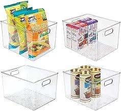mDesign Plastic Storage Organizer Container Bins Holders with Handles - for Kitchen, Pantry, Cabinet, Fridge/Freezer - Lar...