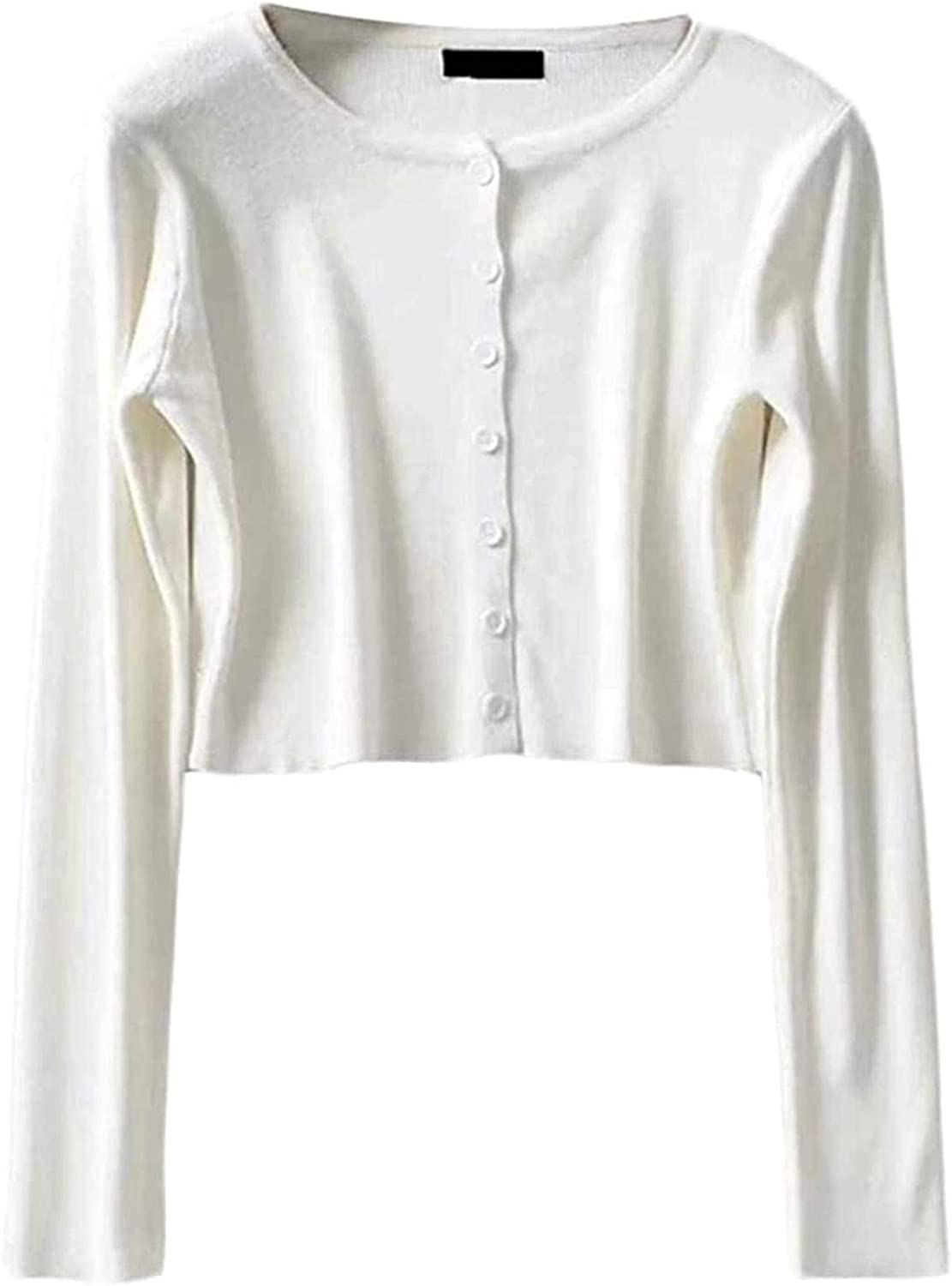 Womens Solid Color Button Down Sun Fashionable Protection Sleeve Tulsa Mall Knitte Long