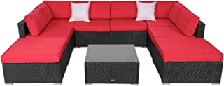 9 PCs Outdoor Patio Furniture Set, Wicker Sofa Chairs Black Rattan Ottoman Thick Cushions with 2 Pillows and Coffee Table