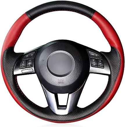 KDKDKLMB Cubierta del Volante Cubierta del Volante del Coche de Cuero Negro para Mazda 3 Axela
