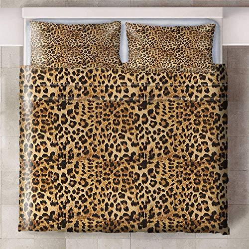 Teqoasiy - 3D Modelo De La Impresión Amarillo Estampado De Leopardo Creativo 229x229cm Duvet Cover Set - Suave Microfibra 3Piece El Sistema del Lecho Funda Nórdica - Suave Hipoalergénica con 2 Fundas
