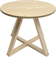 FOMIYES Wooden Round Side Table Nordic Retro Tray Table Accent Table Nightstand Coffee End Table for Living Room Bedroom S...