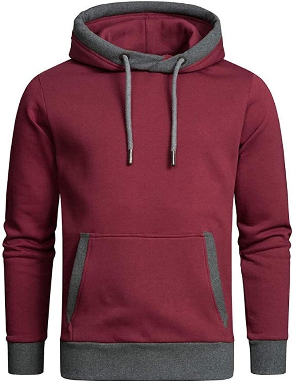 Men Hooded Sweatshirts Long Sleeve Drawstring Pullover Top Soft Comfy Cotton Sweater Lightweight Kangaroo Pocket Hoodie