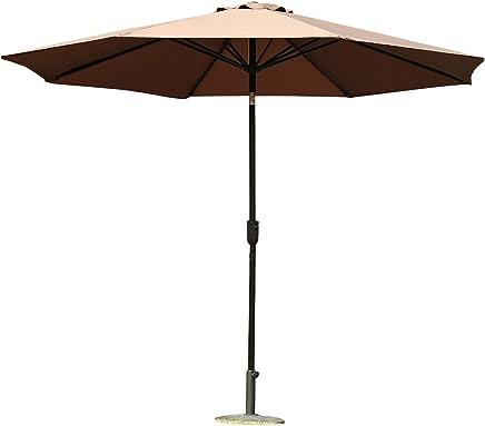 Outsunny Parasol en Aluminium Rond Polyester 180g/m2 manivelle inclinable diamètre 300 cm Chocolat