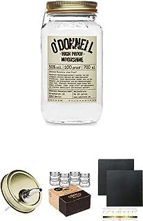 ODonnell High Proof 50% 0,7 Liter  ODonnell Ausgiesser 1 Stück  ODonnell Mason Trinkglas/Jar 4 Stück Shotgläser  Schiefer Glasuntersetzer eckig ca. 9,5 cm Durchmesser 2 Stück
