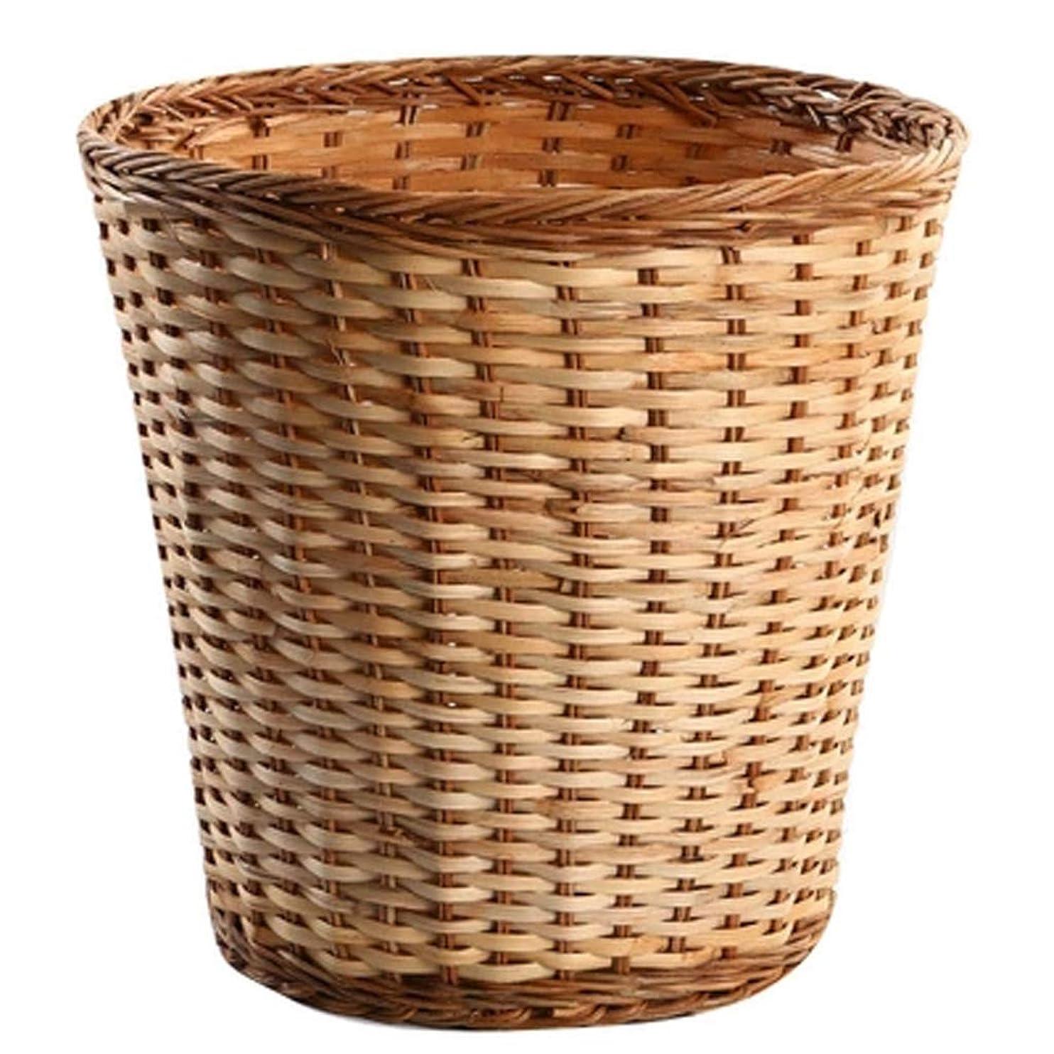 間接的説教する同化するXLSM 藤子準備保管篓家族の庭の貯蔵バケツ環境保護手工芸丸いバスケットはゴミ廃棄紙の破片を入れ、サイズはオプションです 収納ボックス (Size : M)